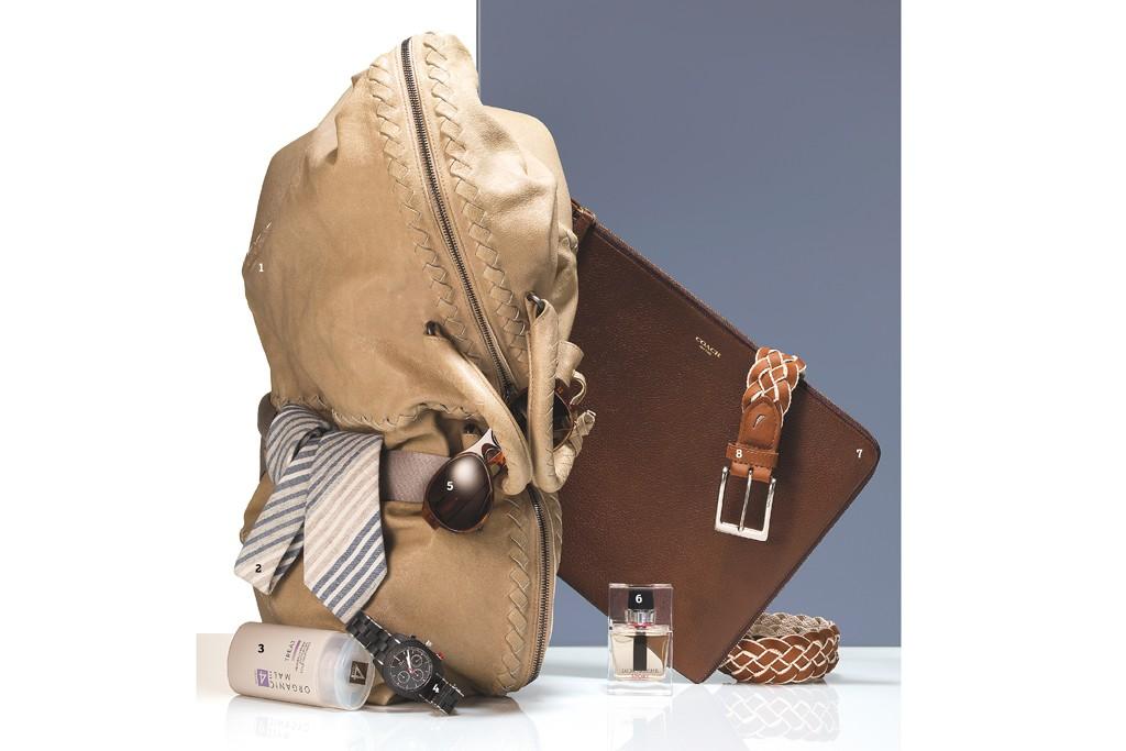 1. Bottega Veneta's gym bag, 2. Alexander Olch's tie, 3. Organic Male OM4 Healing Herbal Antifungal Foot Treatment, 4. Dior's watch, 5. Dries Van Noten's sunglasses, 6. Dior Homme Sport Eau de Toilette,  7. Coach's portfolio, 8. Nautica's belt