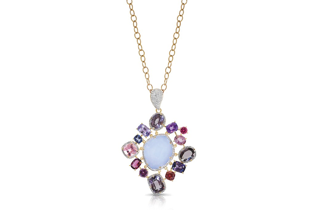 A pendant of yellow gold, diamond, spinel, chalcedony and black mother-of-pearl from Phillips Frankel.