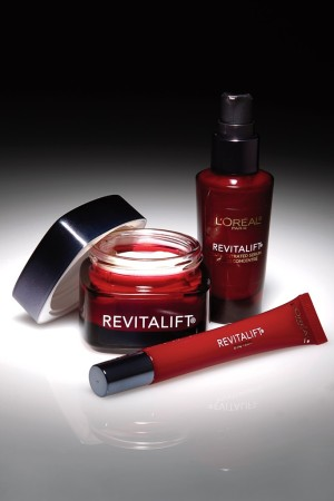 Products from L'Oréal's RevitaLift skin care collection.