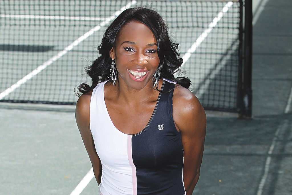 "EleVen by Venus Williams prints are featured on the merch, such as the ""Oh and Oh"" motif, a play on tennis scores, shown here on a polyester and spandex jersey tournament dress."