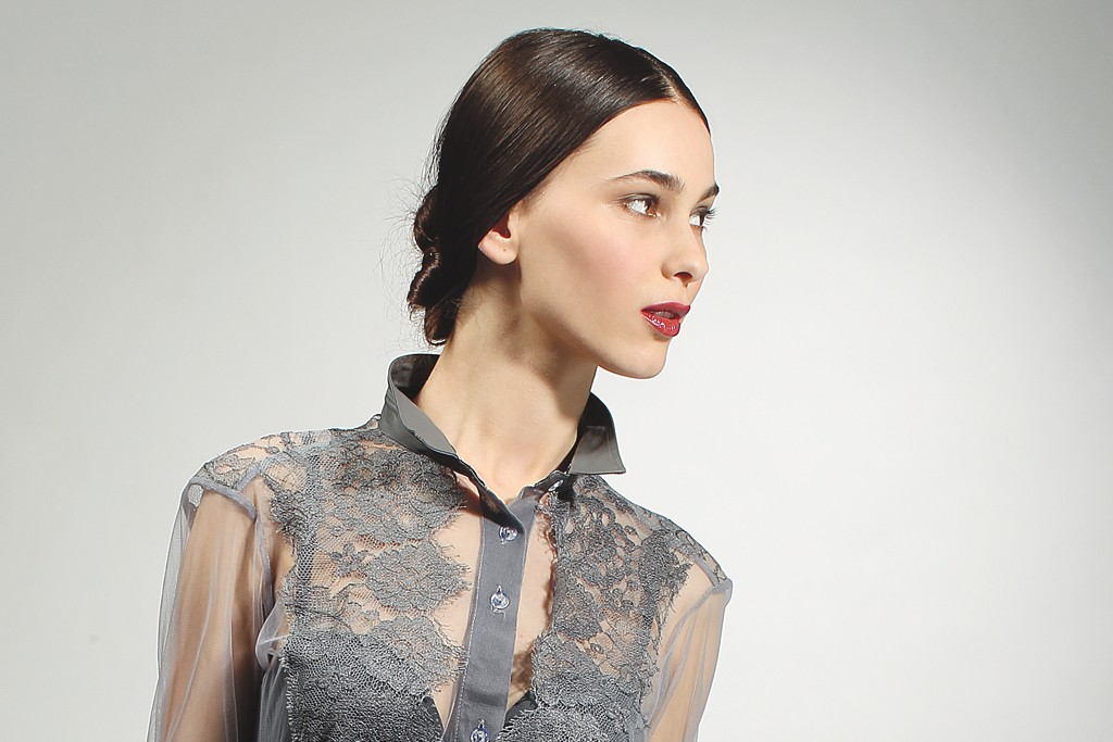 Maki Oh's Chantilly silk lace, mesh and faux-leather blouse and skirt.