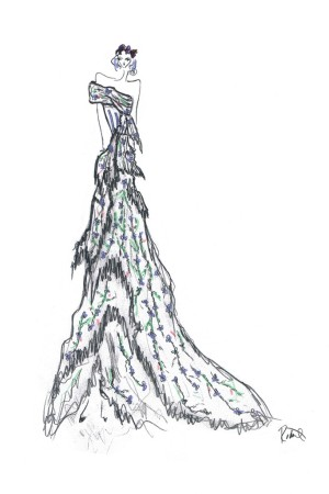 A sketch of Zerlina's costume design incorporating Swarovski Elements by Kate and Laura Mulleavy of Rodarte.
