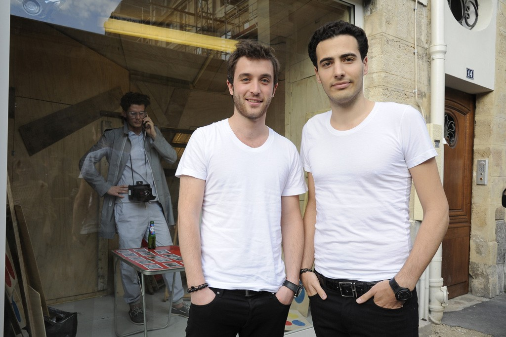 Jean-Victor Meyers (right) and business partner Louis Leboiteux outside Band of Outsiders' window presentation.