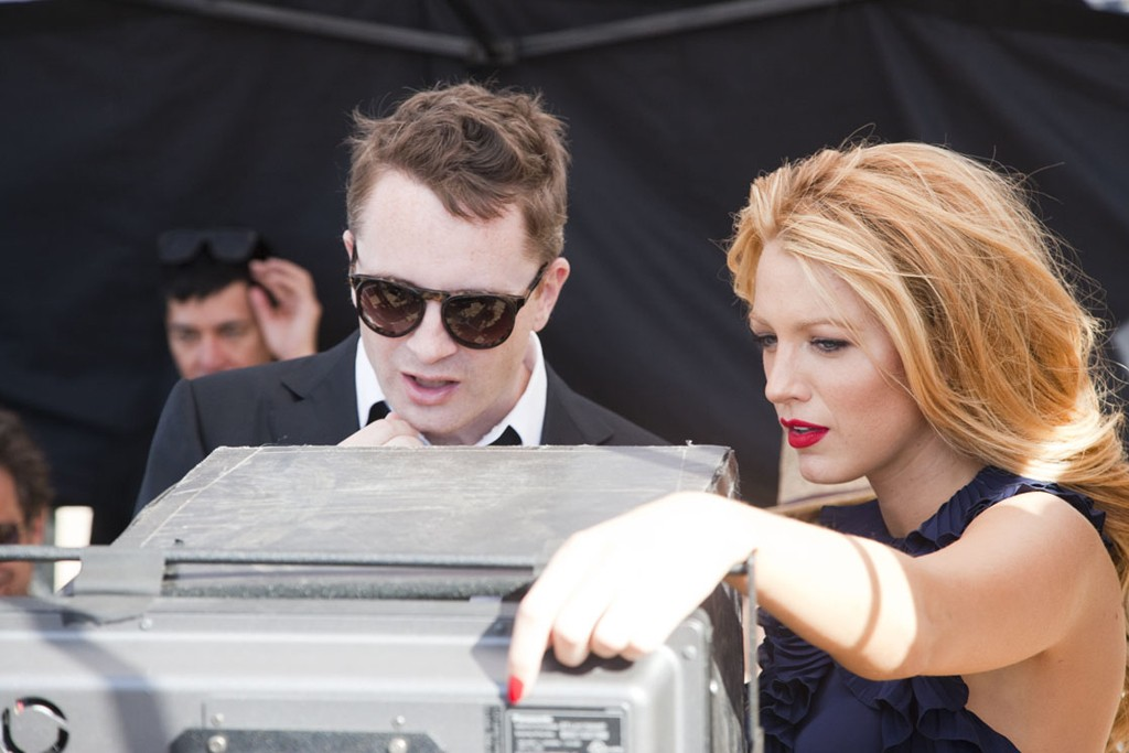 Blake Lively with director Nicolas Winding Refn on set at the Gucci Première campaign shoot.
