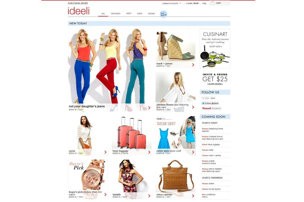 Ideeli's homepage.