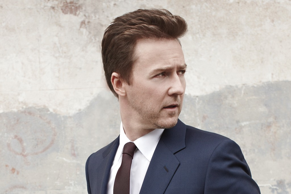 Edward Norton wearing a Prada wool suit, Giorgio Armani's cotton shirt and DKNY tie.