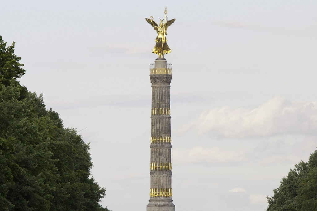 """MBFWB tents have moved to Siegessäule, or """"Victory Column."""""""