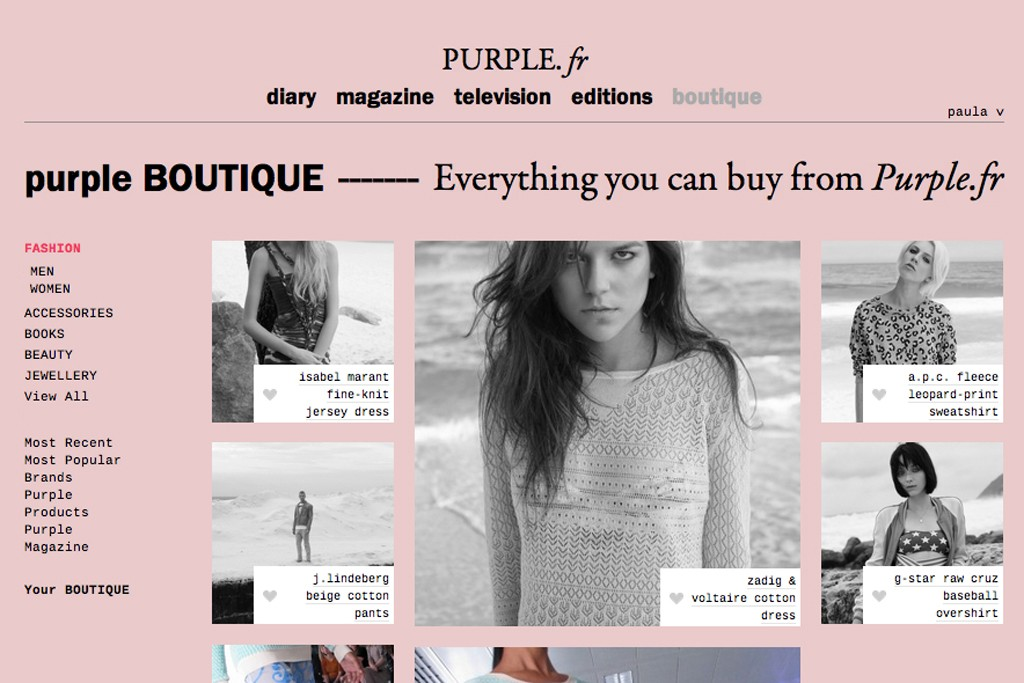 The Purple magazine Web site.