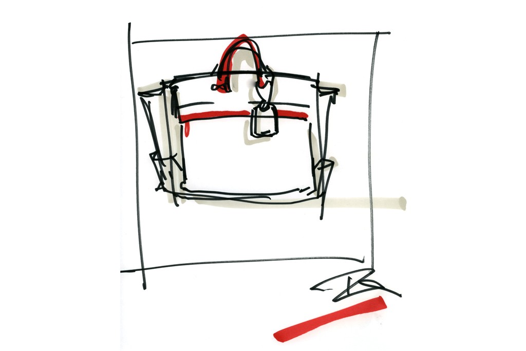 A sketch of the Uniform Satchel by Reed Krakoff.