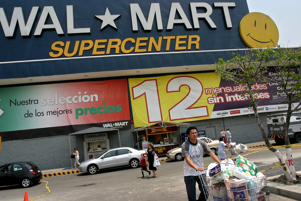 The exterior of a Wal-Mart store in Mexico City, Mexico.