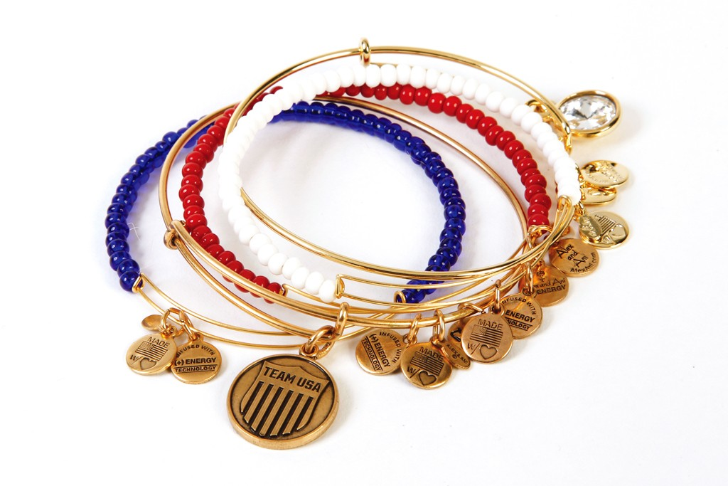 Alex and Ani's metal bangles with glass beads and clear crystal stones.