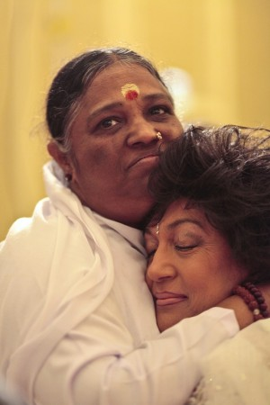 Amma with one of her followers Nilima Mehra.