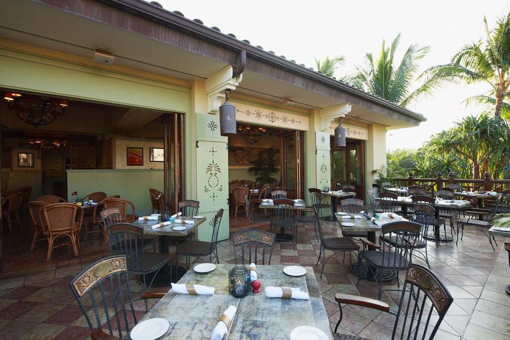 A view of the restaurant at Tommy Bahama in Wailea, Hawaii.