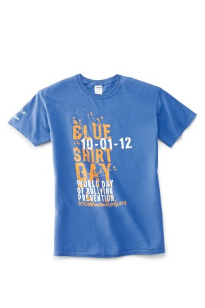 Bon-Ton's blue Stomp Out Bullying T-shirt.