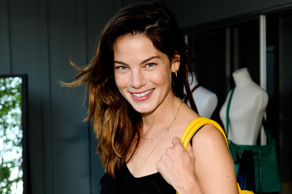 Michelle Monaghan in Tucker pants, Dannijo and Coach.
