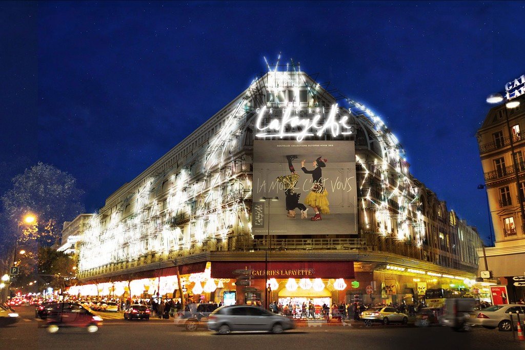 A rendering of Yann Kersalé's lighting design for Galeries Lafayette.