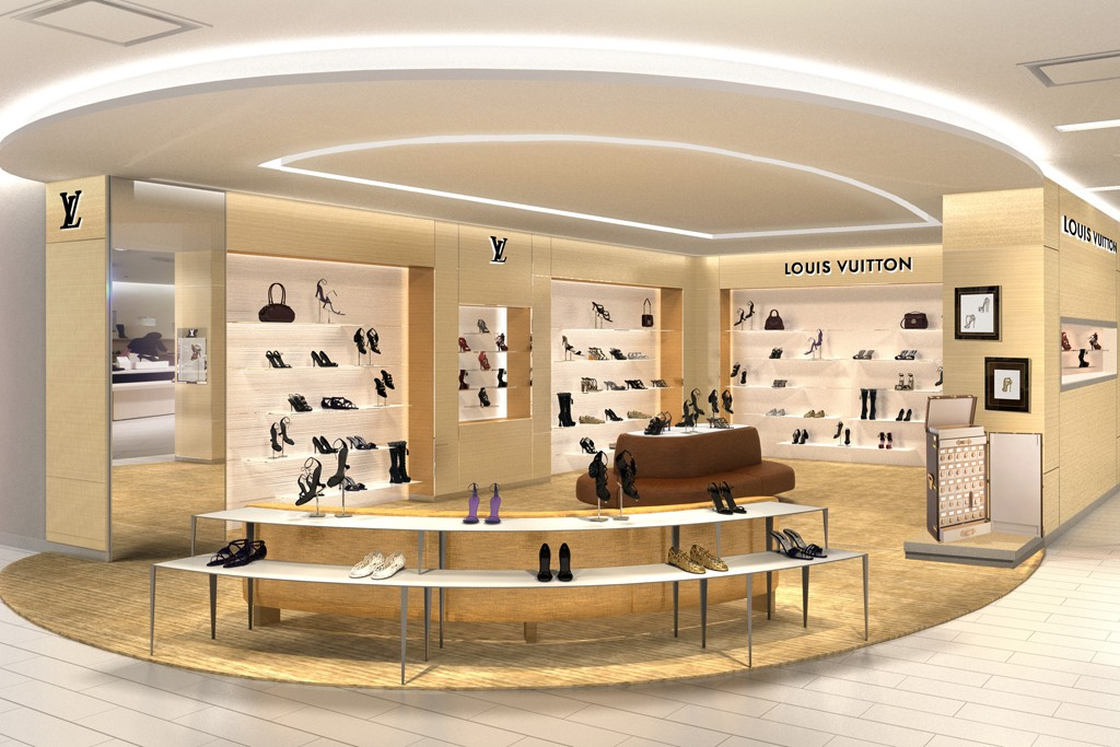 A rendering of the Louis Vuitton shoe salon at Saks.