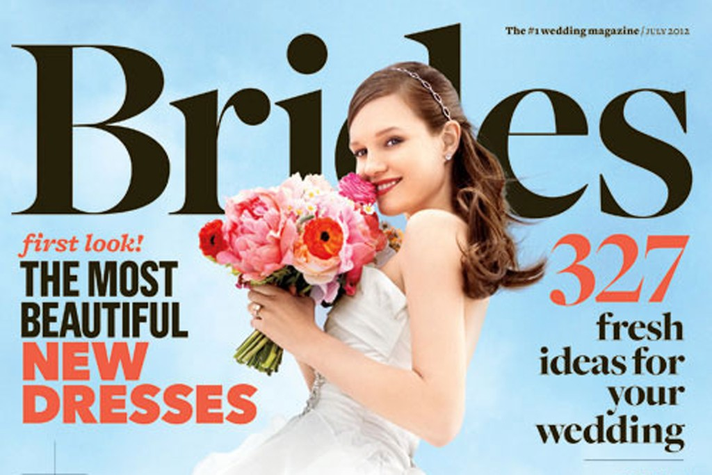 The July 2012 cover of Brides magazine.