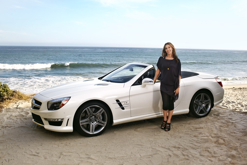 Amahlia Stevens and the 2013 Mercedes-Benz SL63 AMG convertible.