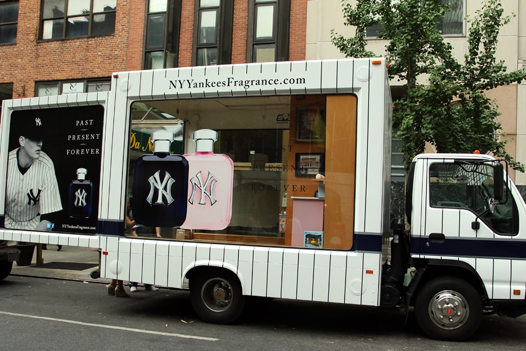 A view of the New York Yankees fragrance truck.