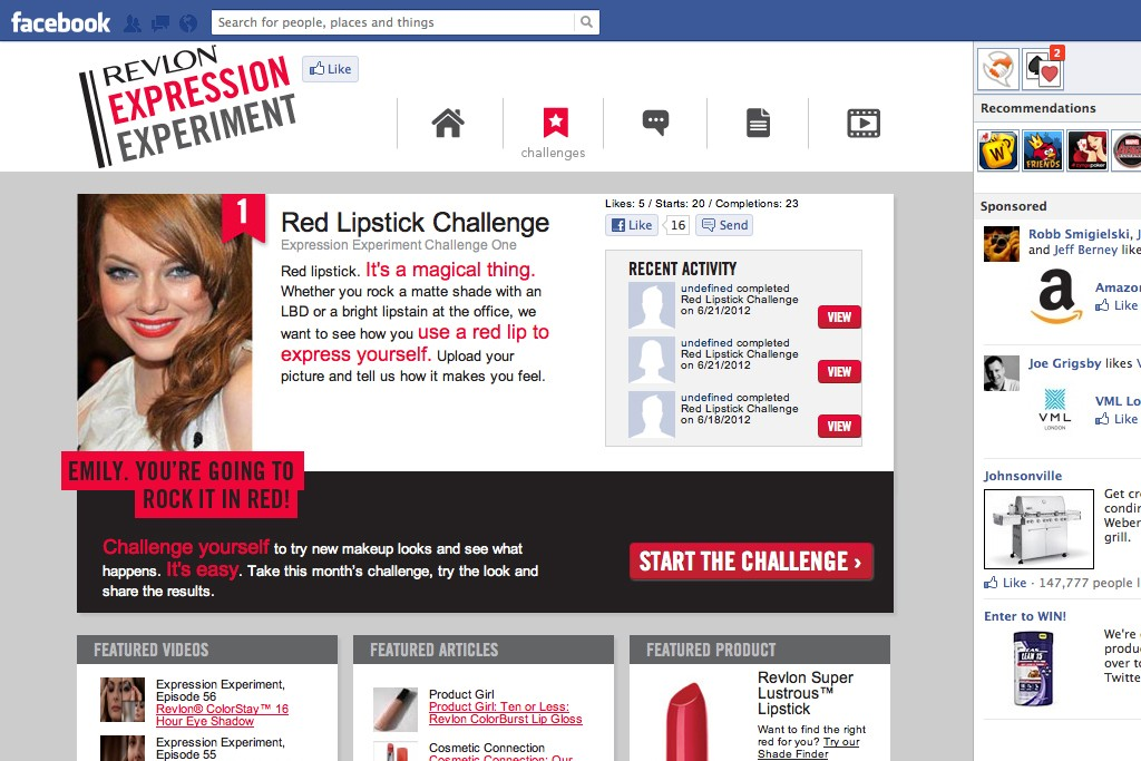 A screen shot of the Revlon Expression Experiment homepage.