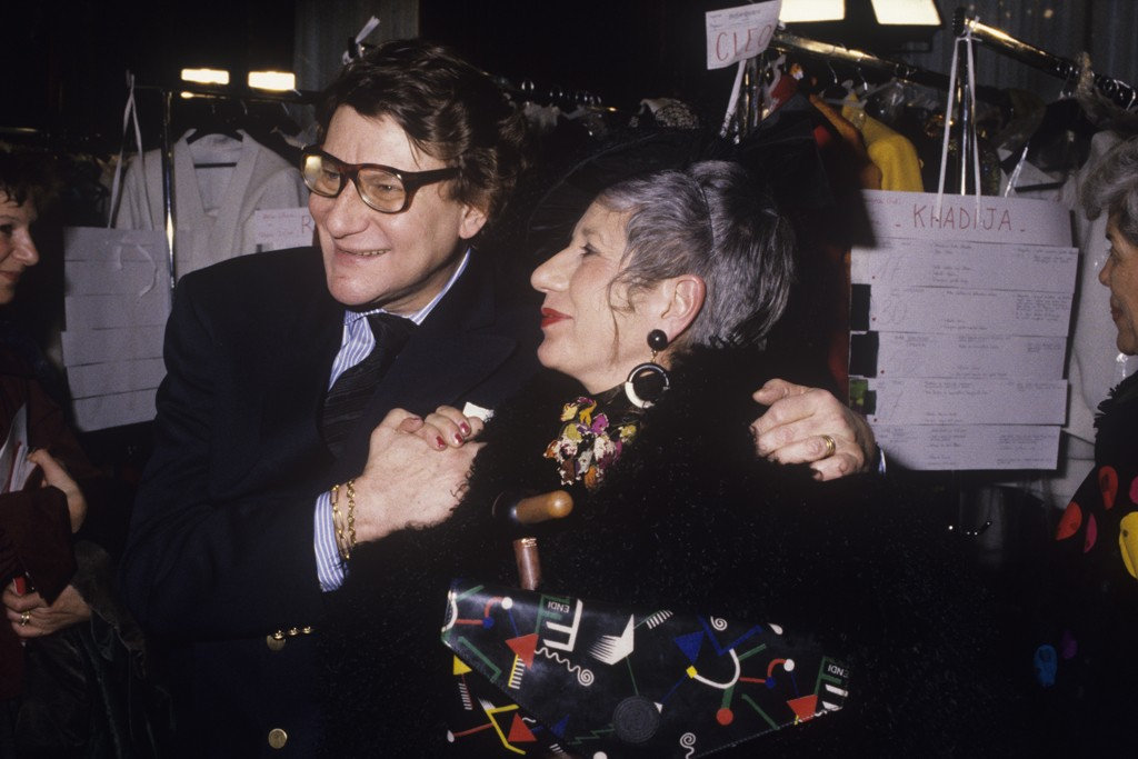 Yves Saint Laurent and Anna Piaggi, 1989.