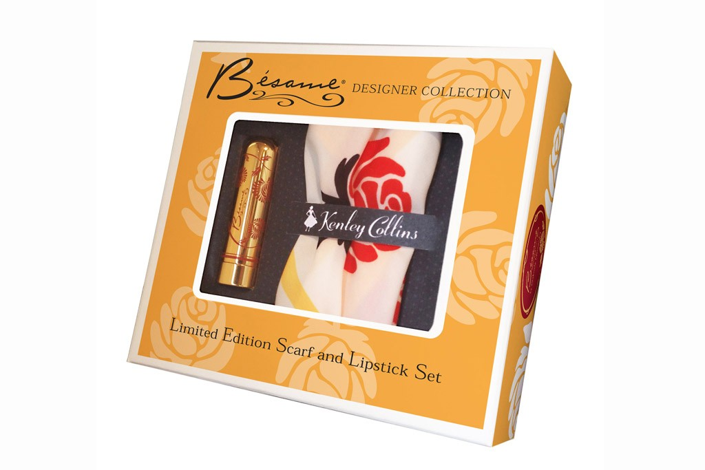 Limited Edition Scarf and Lipstick Set by Bésame Cosmetics and Kenley Collins