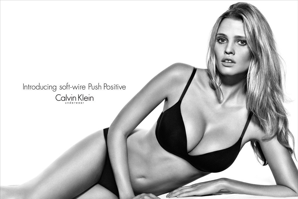 Lara Stone is the face and body for the Calvin Klein Push Positive ad campaign.