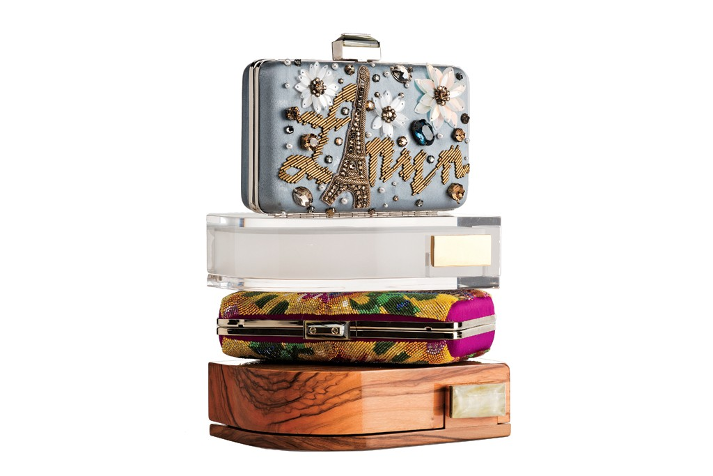 Lanvin's Lucite and wood Piano clutches; embroidered Sea Breeze clutches.