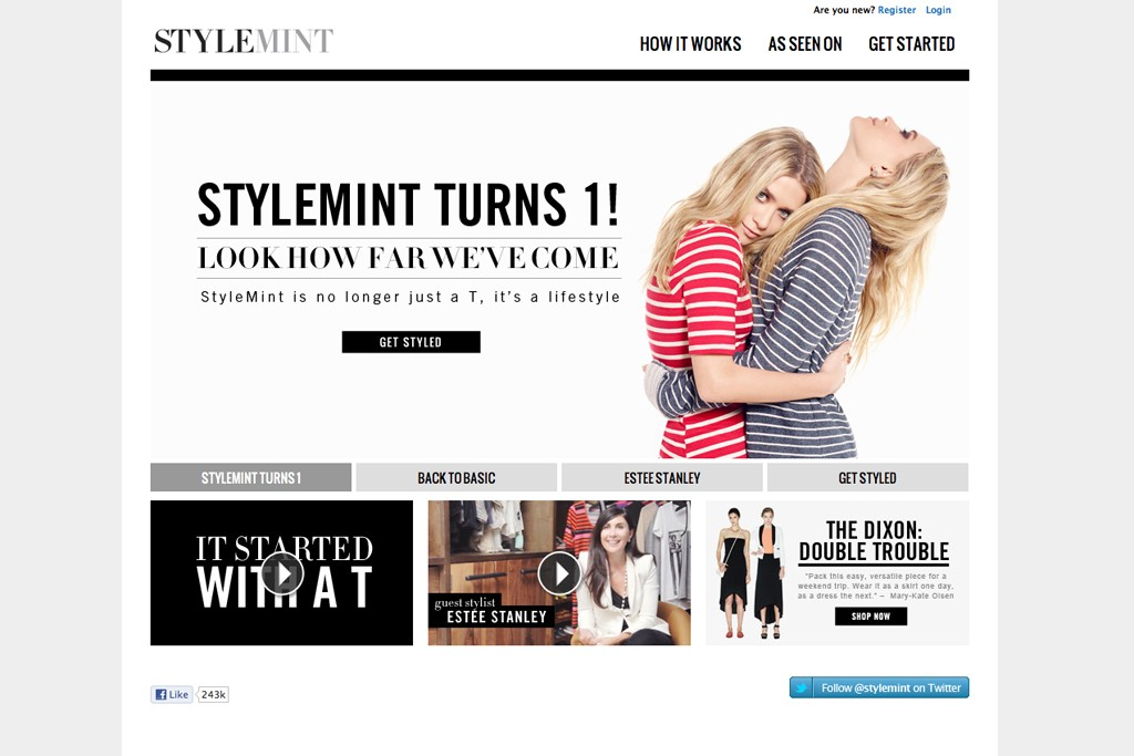 The StyleMint home page.