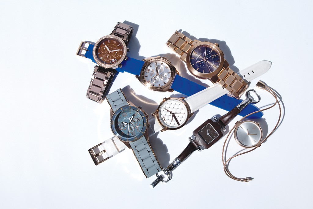 Clockwise: Coach; Burberry; Calvin Klein; Gucci; Armani Exchange; Marc by Marc Jacob's; Michael Kors