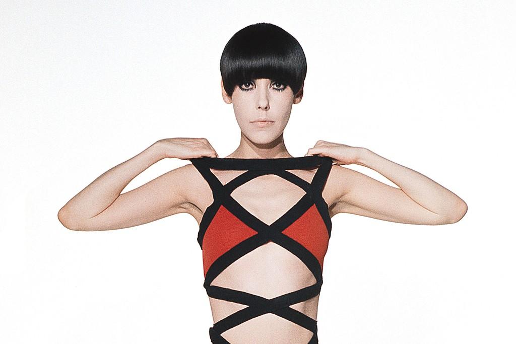 Peggy Moffitt modeling a Rudi Gernreich design in 1971.