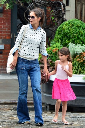 Katie Holmes and Suri Cruise seen leaving Pastis in the Meatpacking District.