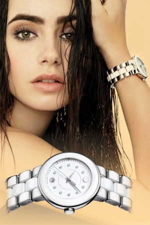 Lily Collins in Movado's fall campaign.