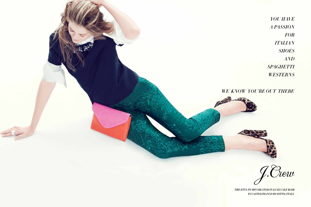 A visual from J. Crew's fall campaign, featuring Virginie Mouzat in the Etta pump.