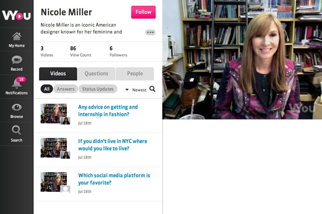 Nicole Miller is the first fashion designer on VYou.