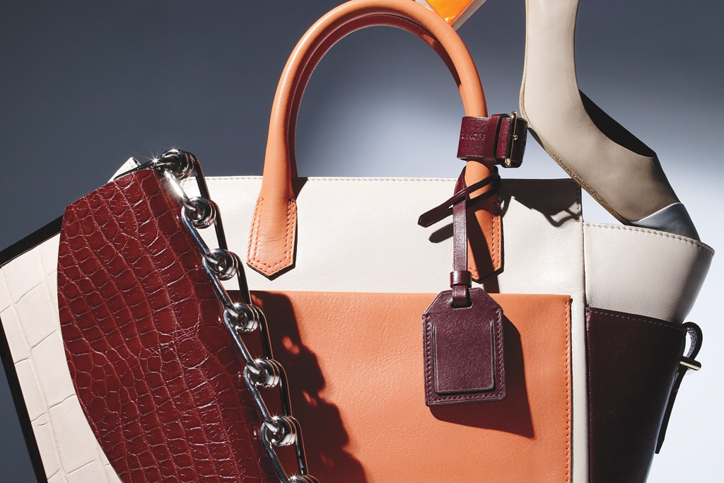 From left: Reed Krakoff's alligator and metal-trim bag, leather tote and leather slingback pump.