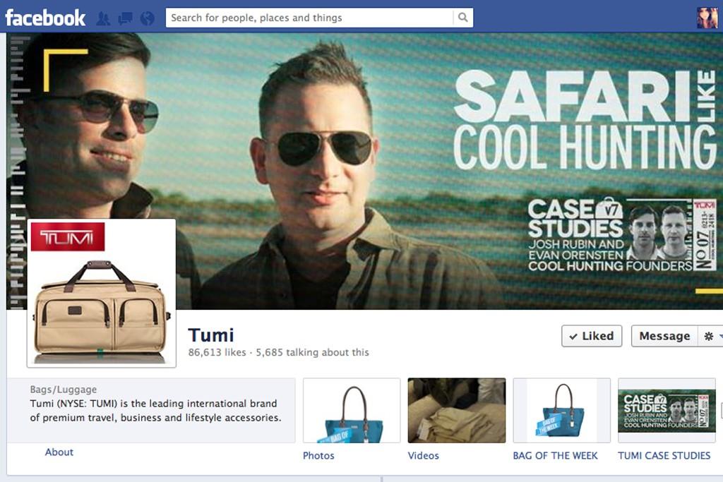 Tumi's Facebook page.