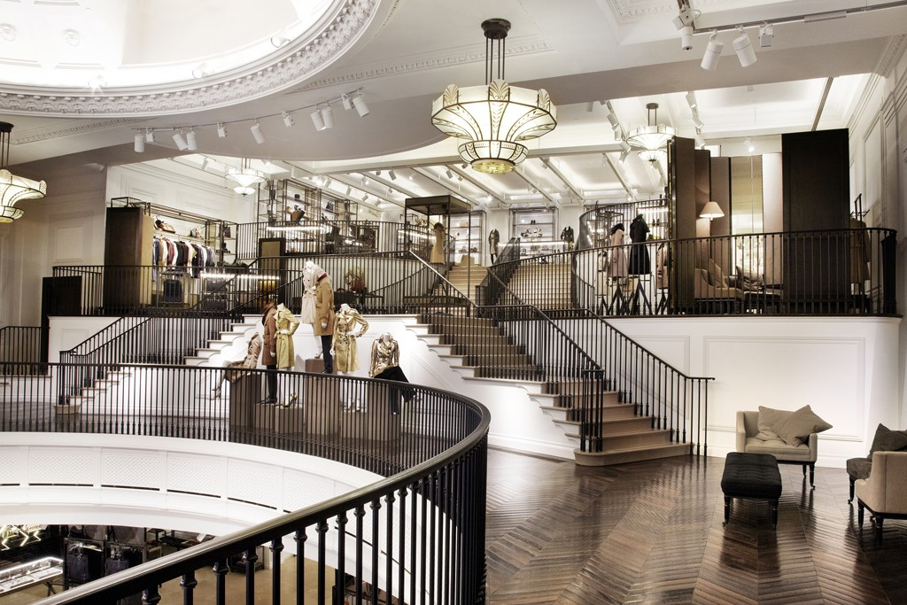 Inside the Burberry flagship.