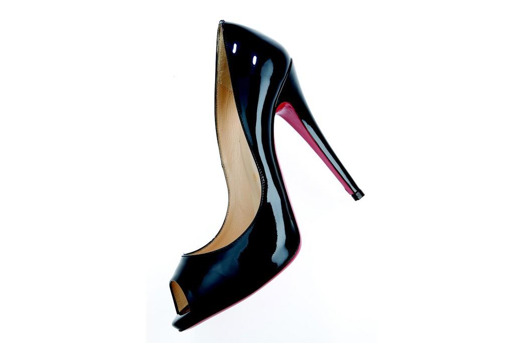 A Christian Louboutin peep-toe shoe.