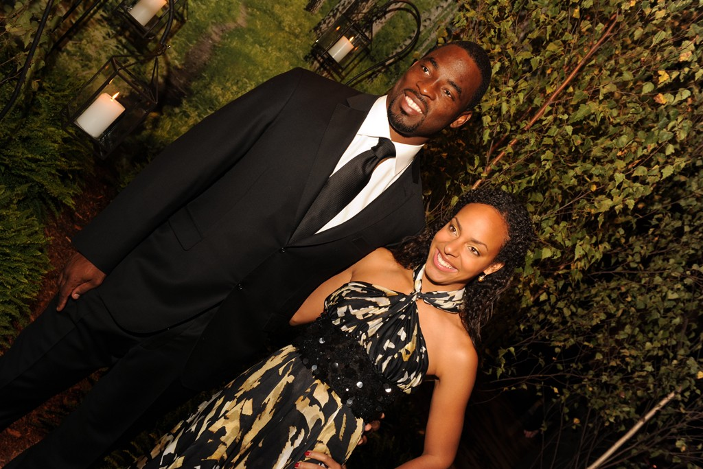 Justin Tuck with Lauran Tuck in Blumarine and Mikimoto.