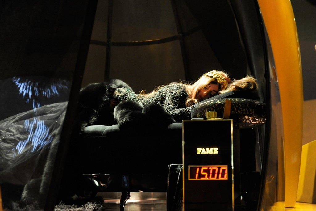 Lady Gaga in her chamber at the Guggenheim Museum.