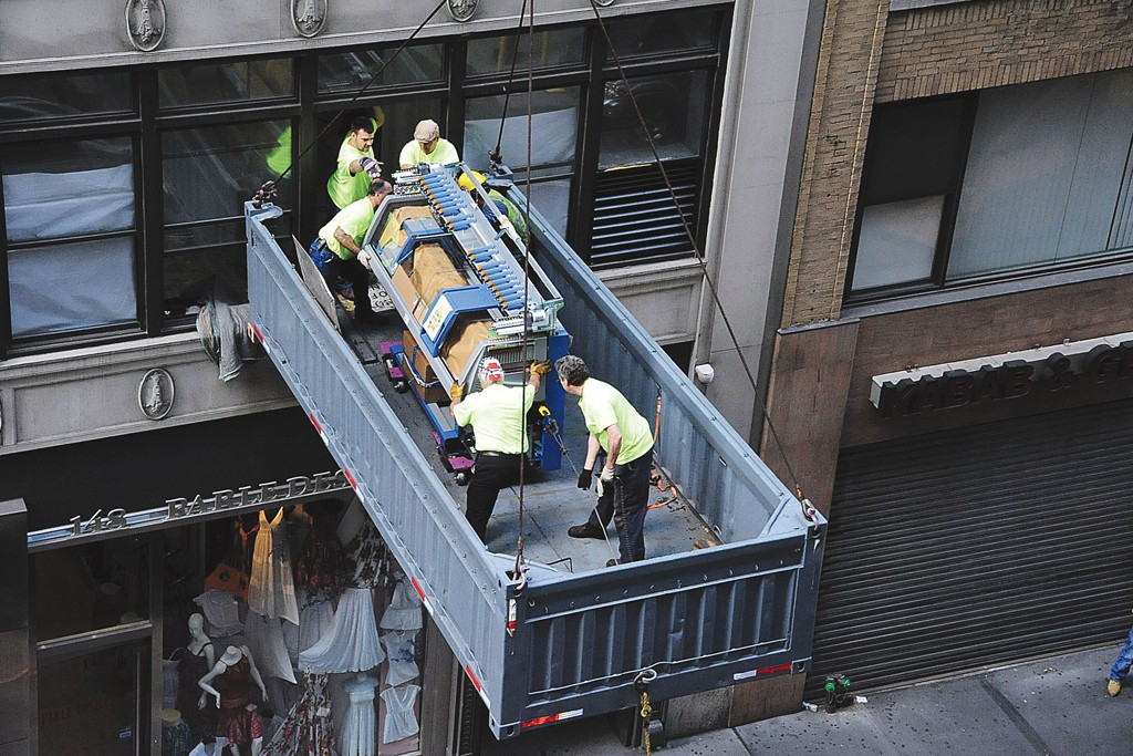 A Stoll knitting machine being delivered to Keff NYC's factory on West 36th Street.