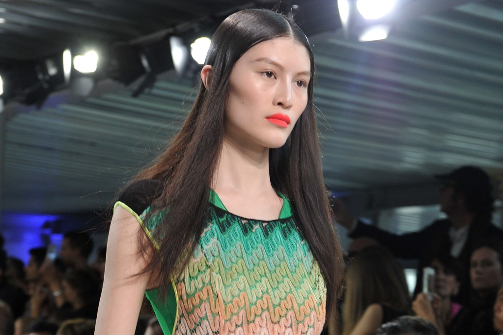 Angela Missoni's knit lace swimsuit over a two-piece.