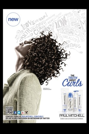 An ad visual for Paul Mitchell Curls' styling and care products.