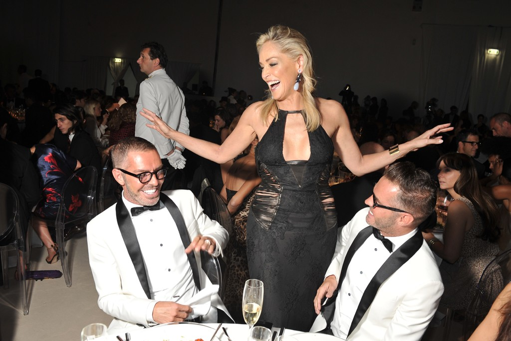 Sharon Stone with Dean and Dan Caten