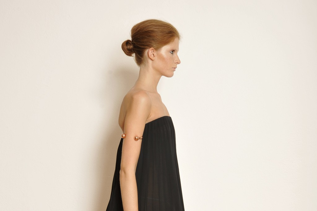 A Spring Summer 2013 look from Veronique Branquinho shot at the fitting