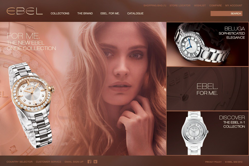 Ebel's updated homepage.