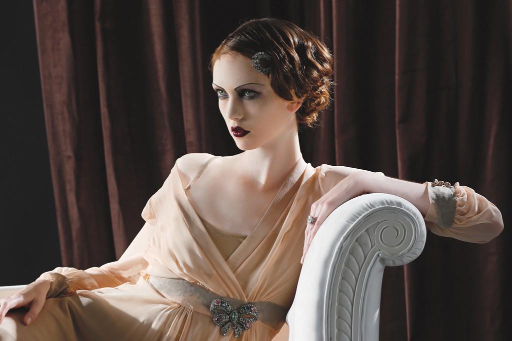 Between the Sheets silk chiffon dressing robe over Only Hearts' nylon and spandex slip. Barbara Flood's Closet hair clip, ring and brooch.