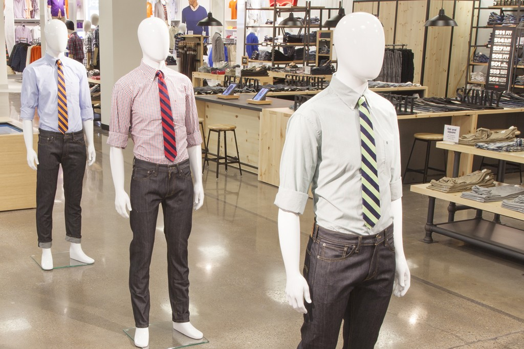 """Levi's mannequins on 'The Street"""" at the Penney's mockup."""